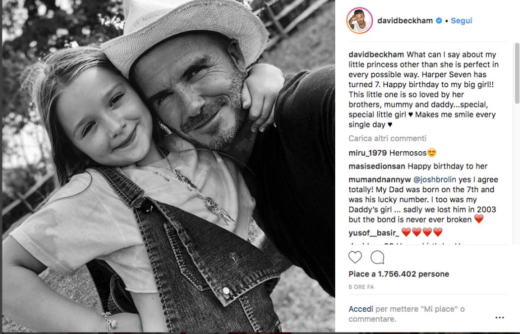 David Beckham Augura Buon Compleanno Alla Figlia Con Una Foto Che