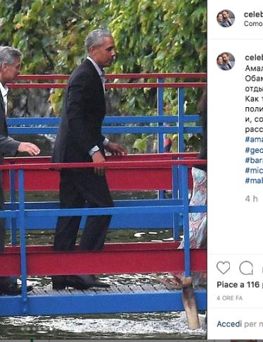 George Clooney e Amal ospitano gli Obama: le foto