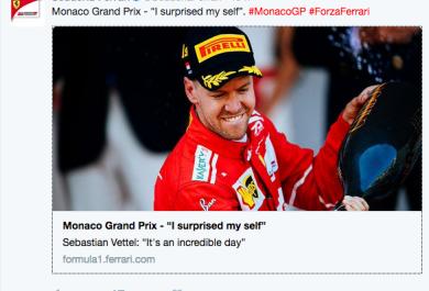Sebastian Vettel vince il GP di Monaco e ringrazia i fan