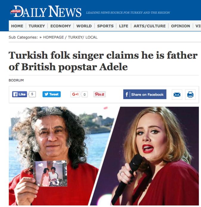 ADELE/ Cantante turco rivela di essere il padre della star inglese