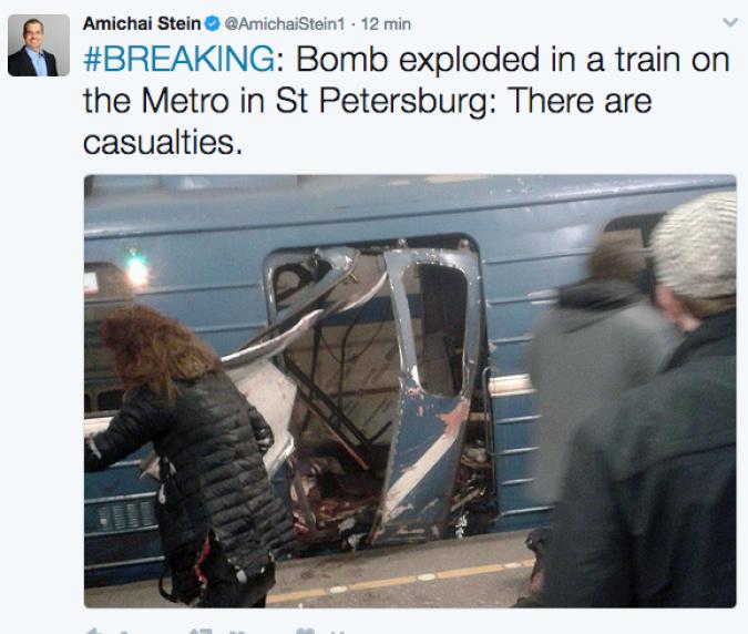 San Pietroburgo sotto attacco, bombe alla stazione della metro