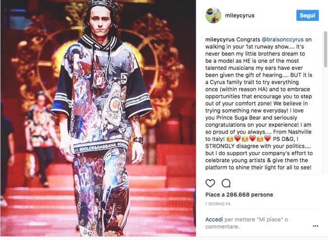 Miley Cyrus vs. Stefano Gabbana: botta e risposta su Instagram