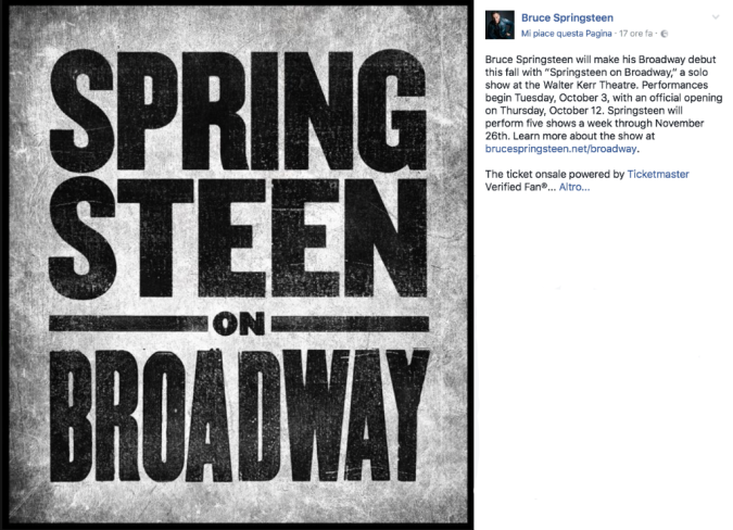 Bruce Springsteen arriva a Broadway: