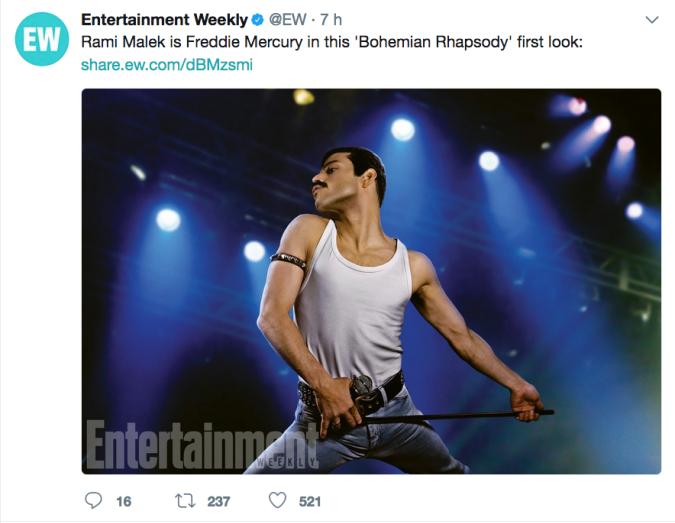 Freddie Mercury guarda la prima immagine di Rami Malek nei panni della star