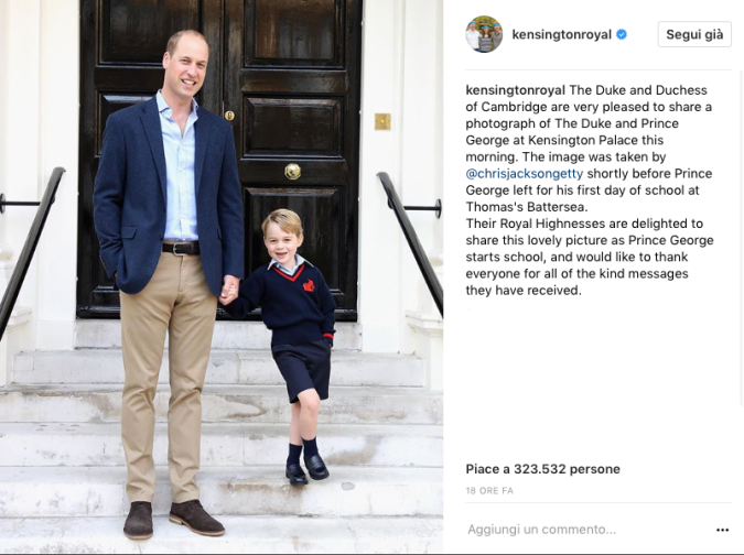 William accompagna (da solo) George al suo primo giorno di scuola