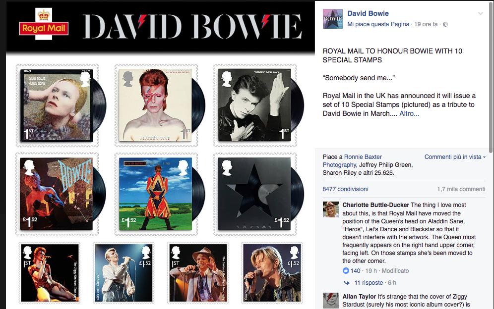 David Bowie su una nuova serie di francobolli del Regno Unito