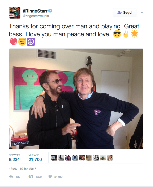 Paul McCartney e Ringo Starr: reunion in studio per gli ex Beatles