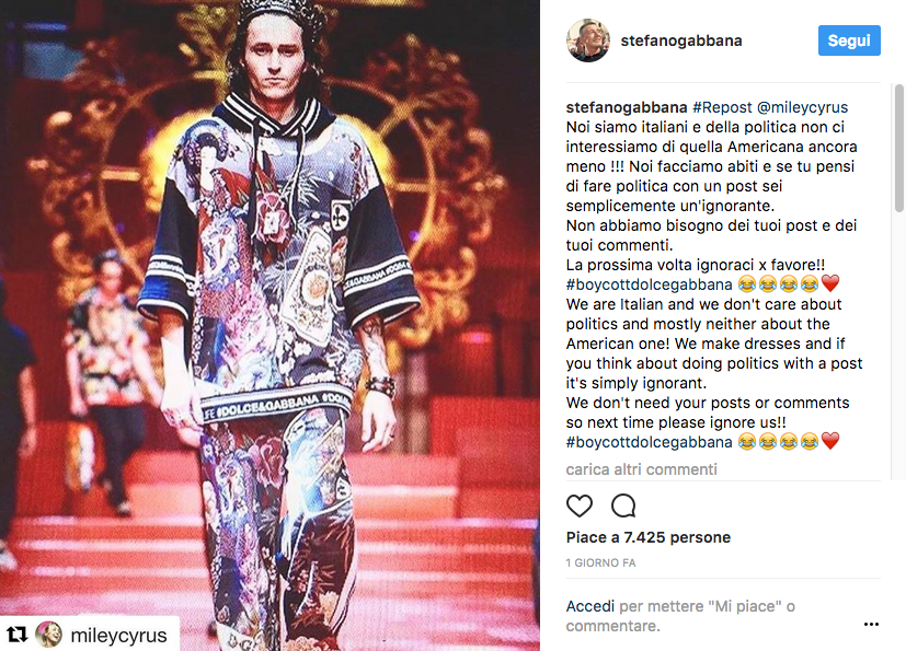 Miley Cyrus vs. Stefano Gabbana: botta e risposta su Instagram
